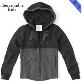 アバクロキッズ パーカー ボーイズ 子供服 正規品 AbercrombieKids  logo full zip hoodie 222-628-0016-091