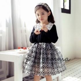 子供服 長袖ワンピース 韓国子供服 ワンピースドレス 発表会 演奏会 入園式 卒園式 入学式 パーティ こどもドレス 女の子