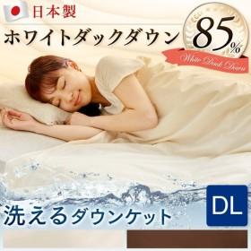 ダウンケット ダブルロング 日本製 ふとん 掛け布団 オールシーズン 洗える 軽量 ホワイトダックダウン 夏 WDD85% 0.3kg DL (D)