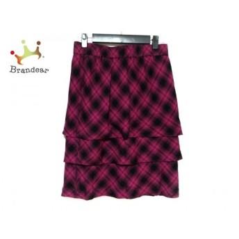 ジユウク 自由区/jiyuku スカート サイズ38 M レディース 美品 黒×ピンク チェック柄 スペシャル特価 20190903