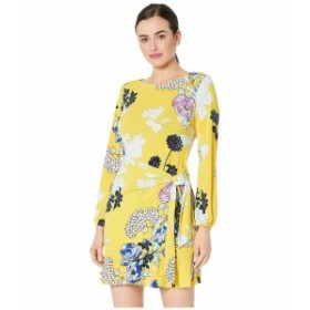ECI レディース ワンピース トップス Long Sleeve Floral Printed Wrap Dress Yellow/Multi