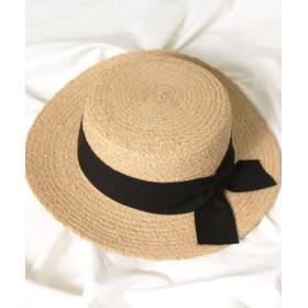 (REAL STYLE/リアルスタイル)リボン付ラフィアカンカン帽/レディース ブラック