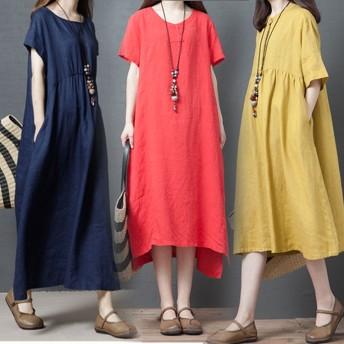 2019韓国ファッション 綿の麻ワンピース ボディラインがキレイに見える美シルエットフレアワンピース