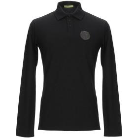 《期間限定セール開催中!》VERSACE JEANS メンズ ポロシャツ ブラック 46 コットン 95% / ポリウレタン 5%