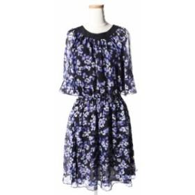 【中古】ケイトスペード KATE SPADE ドレス ワンピース NJMU6705 ハイドランジア シフォン フレア ミニ シルク S ブルー D214