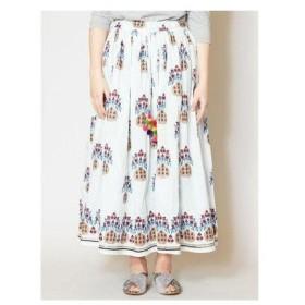 【チャイハネ】yul 花瓶プリントロングスカート ホワイト