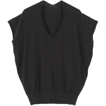 ティティベイト titivate 裾リブコットンライトニット (ブラック)