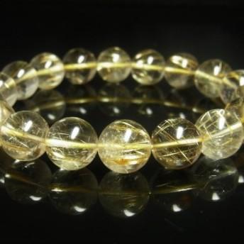 お試し価格 一点物 ゴールドルチル ブレスレット 金針水晶 天然石 数珠 12ミリ R35 開運招来 レディース メンズ