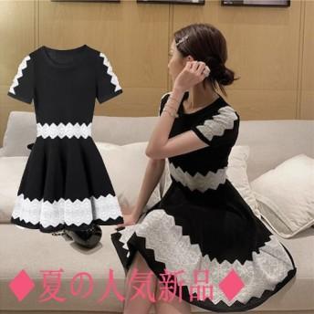 ◆夏の人気新品◆2019韓国ファッション 夏の半袖ワンピース ボディラインがキレイに見える美 シルエット ワンピース