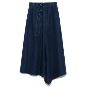 Mila Owen ミラオーウェン ベルト付フロントドレープデニムスカート