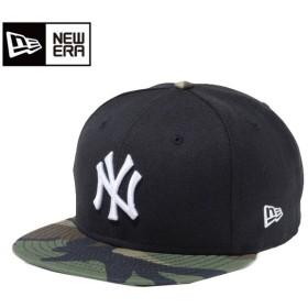 ニューエラ NEW ERA キャップ メンズ レディース 9FIFTY ニューヨーク ヤンキース ブラック × ホワイト ウッドランドカモバイザー 11433953
