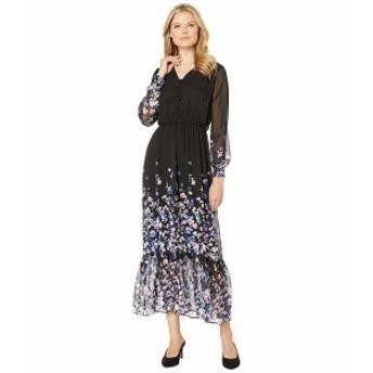 ECI レディース ワンピース トップス Long Sleeve Floral Printed V-Neck Maxi Dress Black/Multi