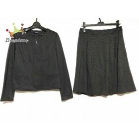 ニューヨーカー スカートスーツ サイズ11 M レディース 美品 ダークグレー×黒 ボーダー   スペシャル特価 20190812