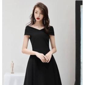 【送料無料・返品OK!】シンプルなブラックドレス フォーマル ワンピース パーディー オシャレ 膝丈 着痩せ