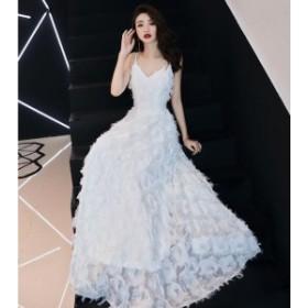 ドレス パーティードレス ロングドレス シンプル   二次会 結婚式 披露宴 司会者 舞台衣装 花嫁 写真撮影 ホワイト ホルダー