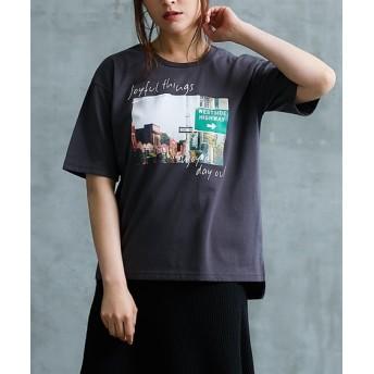 プリント前後付Tシャツ レディース