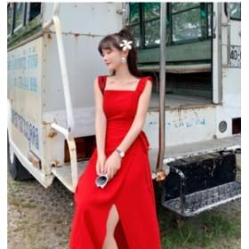 真っ赤なサスペンダーフリルスリットワンピースドレス リゾート パーティー 背中開き バックシャン バックコンシャス フレアスカー