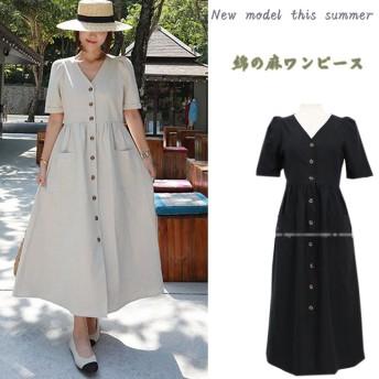 本日限定。 2019韓国ファッション 、夏のシャツワンピース ボディラインがキレイに見える美シルエットフレアワンピ