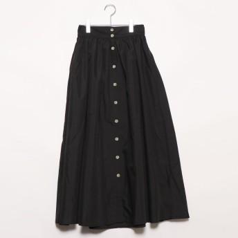 スタイルブロック STYLEBLOCK ブロードフロント釦ギャザースカート (ブラック)