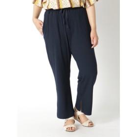 【大きいサイズレディース】【3-8L】スリットヘムパンツ パンツ ワイドパンツ