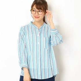 [マルイ]【セール】シャーリングストライプスキッパーシャツ/ミキシングブルー(Mixing blue)