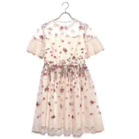 リリーブラウン Lily Brown フラワー刺繍ワンピース (オフホワイト)