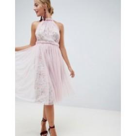 エイソス レディース ワンピース トップス ASOS DESIGN floral print midi dress with tulle overlay Floral print