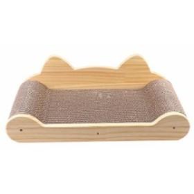 UEETEK 爪とぎ 木製 猫 ベッド スクラッチャー 猫用ソファ 寝床 ペット用 爪研ぎボード またたび付き