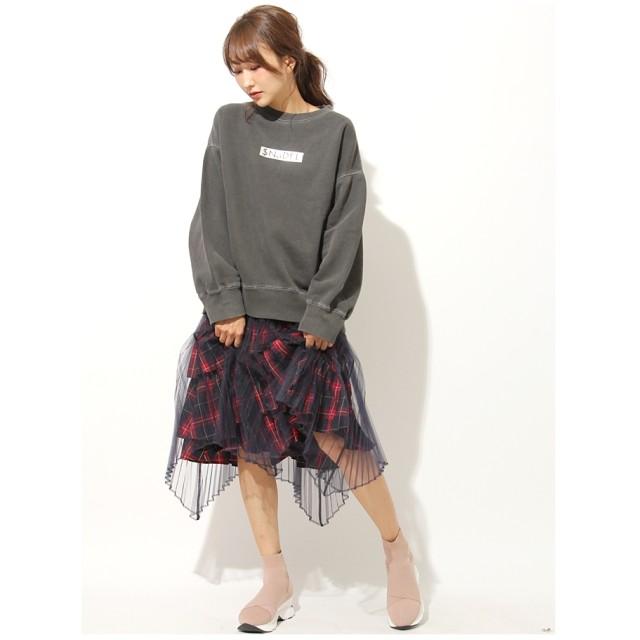 SNIDEL イレヘムデザインスカート ネイビー×レッド