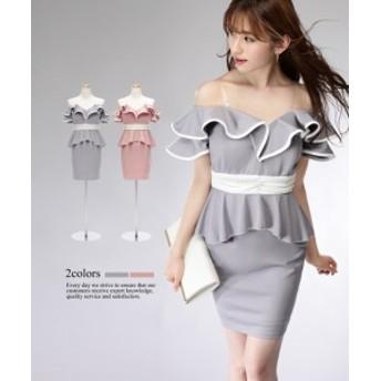 【2サイズ】パイピング フリル オフショルダー ペプラム ワンピース ドレス[キャバドレス 大きいサイズ Lサイズ]