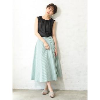 【5,000円以上お買物で送料無料】ストライプ切り替えスカート