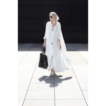 ロングシャツワンピース 白 ワンピース マキシ丈 長袖 袖あり 白 30代 40代 ゆったり 春夏 ママ カジュアル シャツワンピース セミ フォ