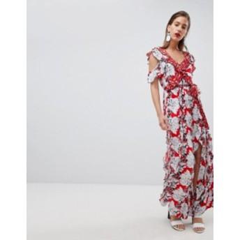 リバーアイランド レディース ワンピース トップス River Island Floral Print Ruffle Detail Maxi Dress Red