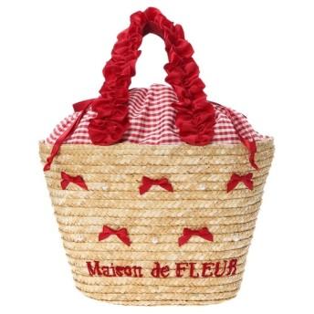 Maison de FLEUR フリルハンドルパールリボンかごバッグ
