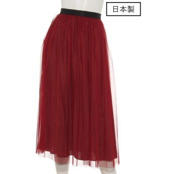 74%OFF dolly-sean (ドリーシーン) 【日本製】チュールサテンリバーシブルスカート レッド