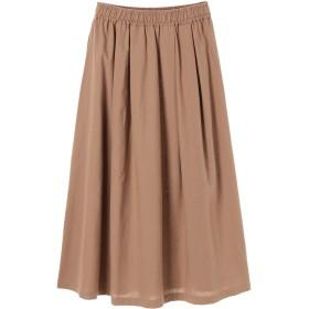 【5,000円以上お買物で送料無料】麻混タックフレアスカート