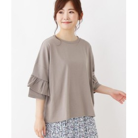 3can4on(Ladies)(サンカンシオン(レディース)) 【洗える】袖フリルビッグTシャツ