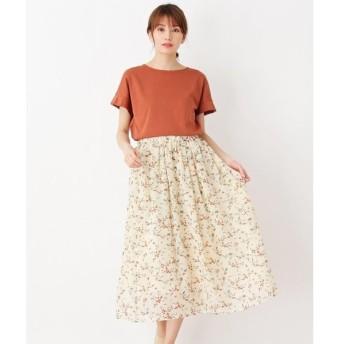 pink adobe / ピンクアドベ <Tシャツ付き!>花柄シフォンスカートセット