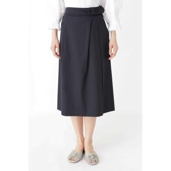 HUMAN WOMAN ◆スラブサテンタンブラースカート ひざ丈スカート,ネイビー