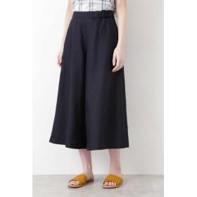 HUMAN WOMAN 麻調合繊ベルト使いキュロット ひざ丈スカート,ネイビー