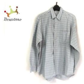コムデギャルソンシャツ 長袖シャツ サイズM メンズ 美品 ライトブルー×白×ブルー ボーダー 新着 20190607