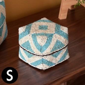 収納ケース 収納ボックス ビーズ製 蓋つき ダイヤ柄 約13×13cm 白×ブルー アジア雑貨 バリ雑貨 アジアン リゾート おしゃれ