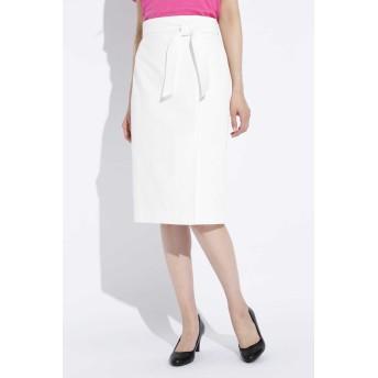 BOSCH 麻混オックスラップ調スカート ひざ丈スカート,ホワイト