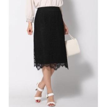 QUEENS COURT(大きいサイズ) / クイーンズコート(おおきいサイズ) 【大きいサイズ】幾何柄レース裾スカラップタイトスカート