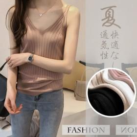 春と夏の新しいシンプルなソリッドカラーのVネックニットキャミソールの女性スリム薄いノースリーブシャツ底入れシャツ