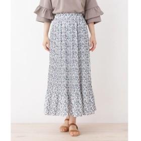 3can4on / サンカンシオン 【洗える】プリーツフラワーロングスカート