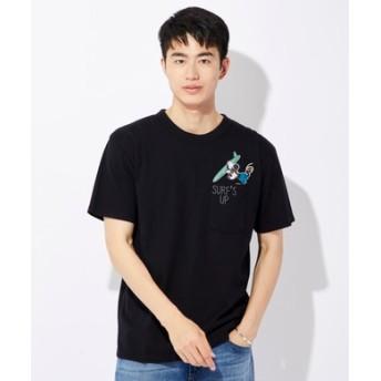 DISNEY サーフポケットプリントTシャツ(ミッキー) メンズ ブラック