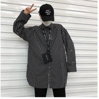 ストライプシャツ ビッグシルエット オーバーサイズ 韓国 オルチャン モード 長袖 春秋冬