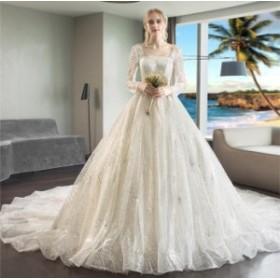 ウェディングドレス 森ガール系  袖あり 結婚式 花嫁 豪華ドレス お姫系 超人気 ブライダル ロングドレス 2019新品 シンプル WS-538