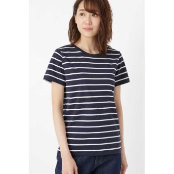 HUMAN WOMAN 新きょう綿半袖Tシャツ その他 カットソー,ネイビー×オフ2